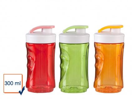 DOMO 3er-Set Ersatzflaschen für Smoothie Maker Mixer 0, 3L rot-orange-grün
