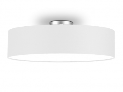 Deckenleuchte mit Stoff Lampenschirm Weiß 50cm - Textil Deckenlampe Stoffschirm - Vorschau 1
