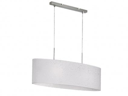 Honsel Pendelleuchte THOR, Stoffschirm oval weiß Dekor, E27 Pendel Esstischlampe