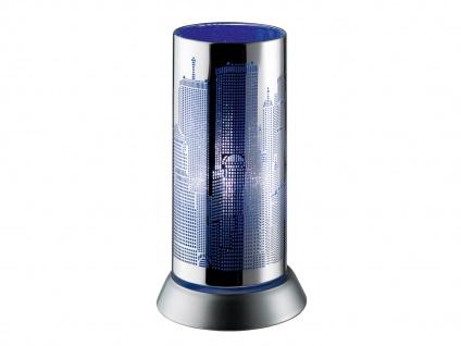 Moderne Tischleuchte aus Metall Lasercut Motiv City in Blau Ø 9cm für Wohnzimmer