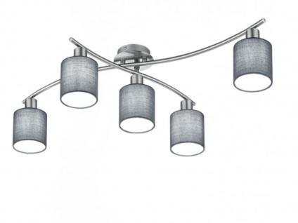 Deckenleuchte GARDA schwenkbar mit grauen Stoffschirmen und E14 LED, Deckenlampe