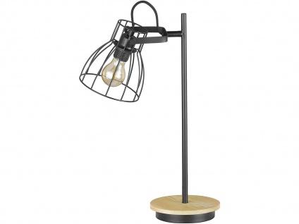 Schwenkbare Vintage Tischlampe, Gitterlampe Lampenschirm schwarz, Fuß Holz natur - Vorschau 2