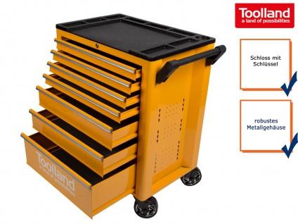 Abschließbarer Werkstattwagen mit Rollen, 7 Schubladen und Ablagefach, Toolland
