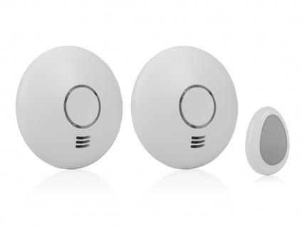 SET 2 Funkrauchmelder mit Fernbedienung funkvernetzte Rauchwarnmelder vernetzbar