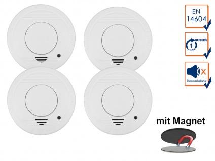 4er-Set Rauchmelder mit 1 Jahres Batterie - Stummschaltfunktion + Magnethalter