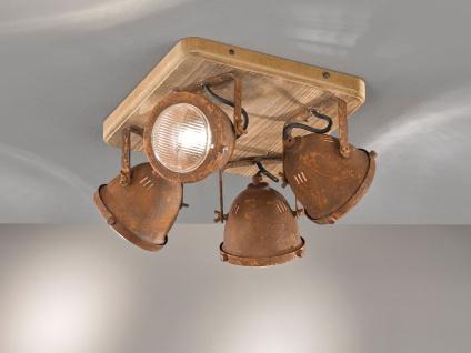 4 flammiger Industrial LED Deckenstrahler dimmbar - Holz & mit Metall rostfarben - Vorschau 4