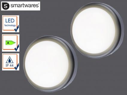 2er Set runde LED Außenwandleuchte schwarz Ø19, 7cm Außenbeleuchtung Haus Fassade