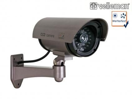 Kamera Attrappe, IR-LEDs & rote LED, Fake Dummy Innen Außen Überwachungskamera
