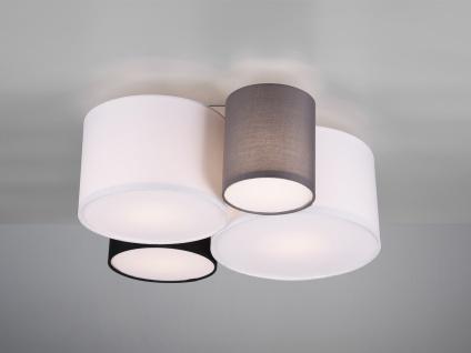 Ausgefallene vierflammige LED Deckenlampe mit verschiedenen Stofflampenschirmen
