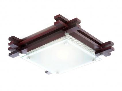 Globo Deckenleuchte EDISON Holz / Glas, Deckenlampe Wohnraum Wohnzimmer Lampe