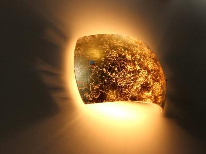 Hochwertige Up and Down Wandlampe für Innen aus Metall mit Dekoschale Blattgold