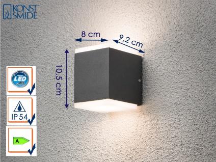 LED Außenwandleuchte Alu in Anthrazit, 2x 6W IP54 Fassadenbeleuchtung Wegelampe