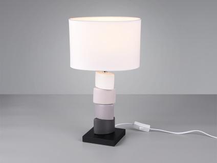 Kleine LED Tischleuchte 1 flammig Keramikfuß weißer Stoff Lampenschirm Höhe 43cm