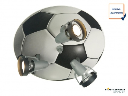 LED Deckenstrahler Fussball 3 LED Spots schwenkbar LED Kinderzimmerleuchte