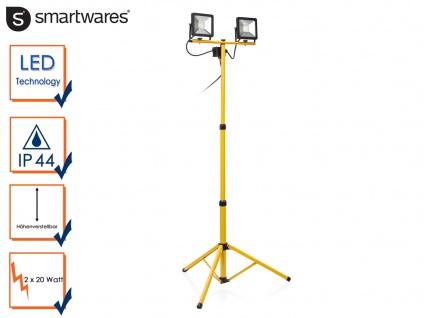 LED Baustrahler mit Stativ Höhe 110-180 cm Fluter Arbeitsscheinwerfer 2x 20W