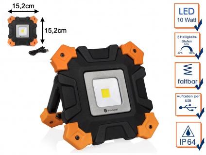Klappbarer LED Baustrahler Akku 10W mit USB - Baustellenlampe & Werkstattleuchte