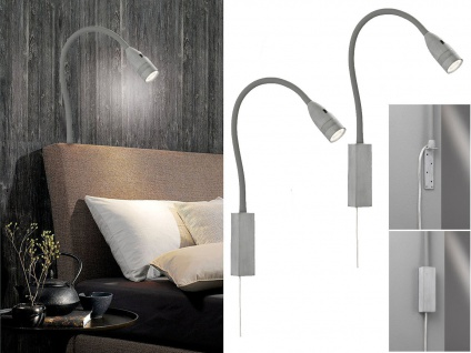 2x LED Leselampen Betonoptik Bett Lampen Leuchten für Kopfteil Couch Wandmontage