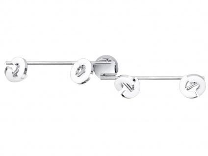 LED Deckenstrahler 4-fl. Chrom Acrylglas Spots drehbar Deckenbeleuchtung Büro