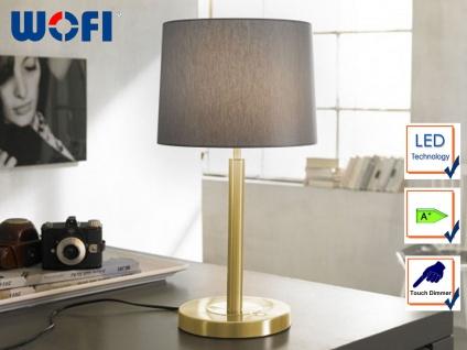Wofi LED Tischleuchte TOULOUSE, Touchdimmer, Schirm Stoff grau, Nachttischlampe