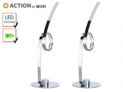2er Set LED Tischleuchte LATOUR, Chrom, H. 35cm, LED Tischlampe Tischleuchten