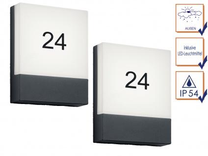 LED Wandlampen SET für draußen - 2 Hausnummernleuchten, Aluminium Anthrazit IP54 - Vorschau 3