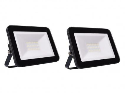 2er Set 30W LED Außenwandstrahler schwarz mit Befestigungsbügel, flaches Design