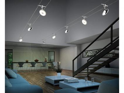 Lampen Seilsystem 5 LED Deckenstrahler Spots Rund Chrom 5 Meter, Deckenleuchten