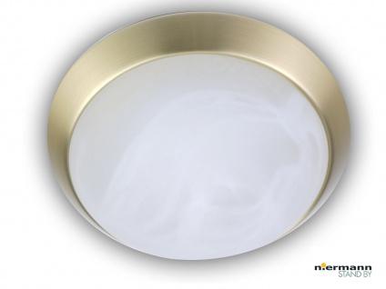 Deckenleuchte rund, Glas Alabaster, Messing matt, Ø25cm, Dielenleuchte Bürolampe
