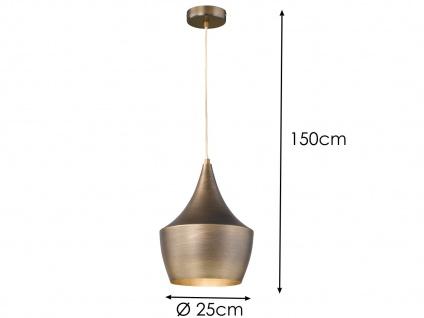Design Retro Pendelleuchte mit Metall Schirm in Braun Ø 25cm E27 - Esstischlampe - Vorschau 4