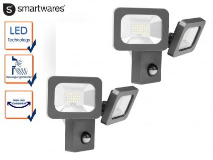 2er Set 2fl. LED Außenfluter mit Bewegungsmelder 2x 12W Fassadenbeleuchtung Wege