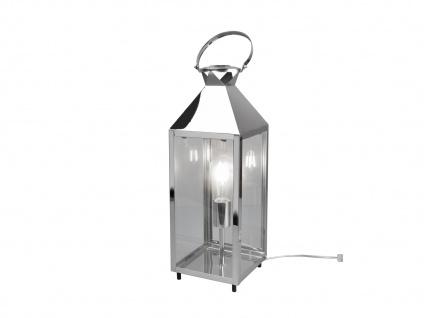 LED Tischleuchte groß Laterne Chrom Metall 19x19cm 61cm hoch für die Fensterbank - Vorschau 2