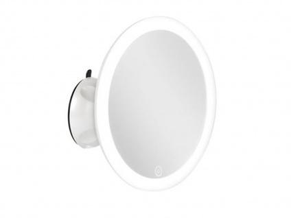 Runder Kosmetikspiegel mit LED-Lichtrahmen & Touchdimmer Berührungstaste, weiß