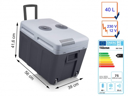 Thermoelektrische 40L Kühlbox mit Rollen Warmhaltebox 12V/230V für Camping Auto