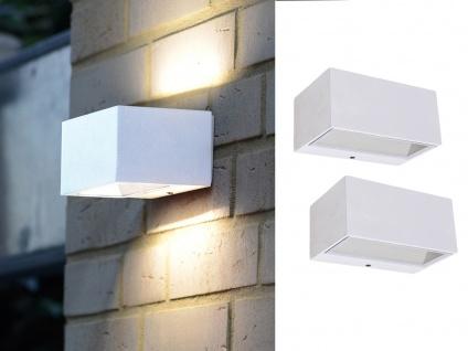 Hochwertige eckige LED Außenwandleuchten ALU Weiß, Up and Down Lampen 14cm breit
