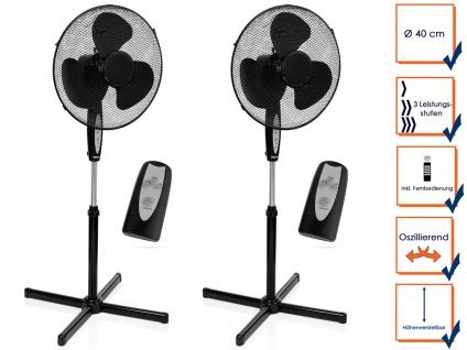 2er SET Ozillierender Standventilator Zimmerventilator mit Fernbedienung & Timer