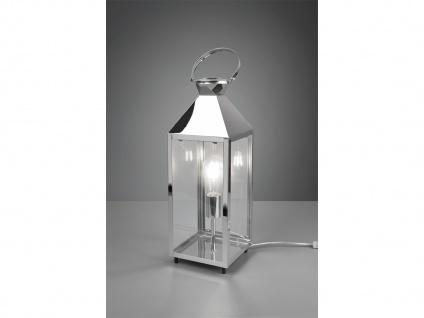 LED Tischleuchte groß Laterne Chrom Metall 19x19cm 61cm hoch für die Fensterbank