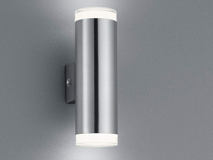 UP and DOWN Fassadenbeleuchtung Außenwandlampe Wandleuchte Silber für Terrasse