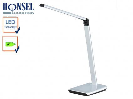 LED Schreibtischleuchte Silber Kopf neigbar Touchdimmer USB Anschluß Bürolampe