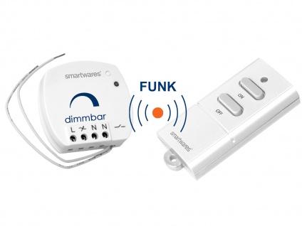 SmartHome Funk Schalter Set = Mini Funk-Eindimmer + Funk-Fernbedienung max. 100W