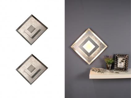 LED Wandleuchten 2er SET für den Innenbereich im Blattsilber Design, eckig klein