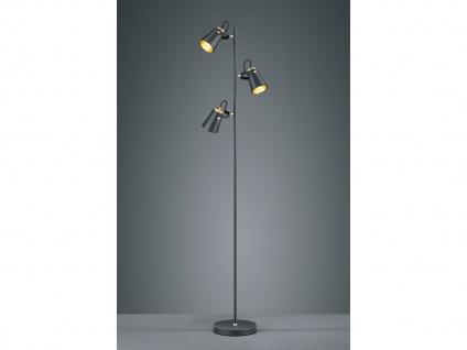 3fl. Standlampe aus Metall in schwarz matt, Spots variabel - Wohnraumleuchten