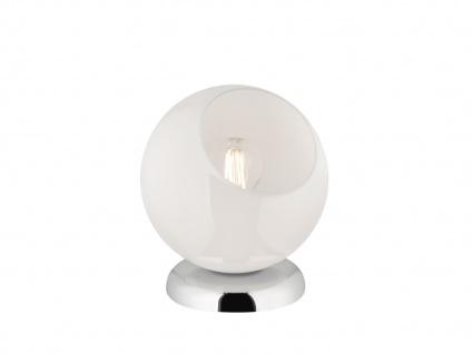 Moderne Tischleuchte rund mit Glasschirm weiß Ø20cm, Höhe 22cm - Nachttischlampe - Vorschau 5