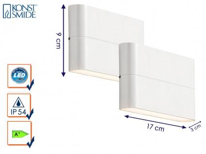 2er-Set Up-/Down Außenwandleuchten Wandstrahler CHIERI weiß 12 Watt-LED 900 Lm