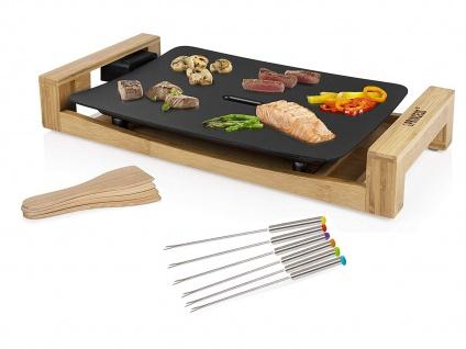 Teppanyaki Grillplatte & 6 Gabeln, elektrischer Tischgrill schwarz Bambusrahmen