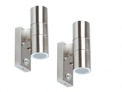2er Set LED Edelstahl Außenwandleuchten mit Bewegungsmelder, Fassadenbeleuchtung