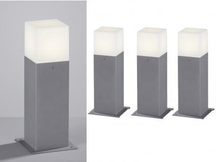 LED Sockelleuchte in Hell Grau 30cm - 3er Set Terrassenbeleuchtung Wegeleuchten