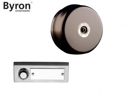 Türklingelset: Klingeltaster Stahl gebürstet mit Namensschild + Türklingel rund