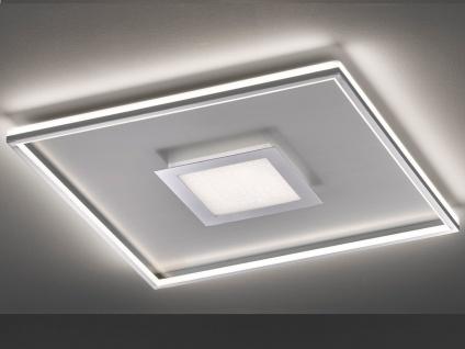 Flache LED Deckenleuchte BUG Quadrat 60cm mit Fernbedienung, Silber matt & Chrom