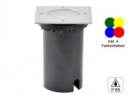 LED Bodeneinbaustrahler eckig, L/B ca. 11 cm 36Lm IP65, 4 Farbscheiben