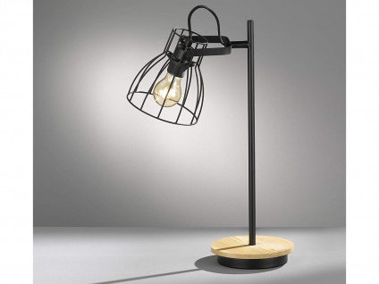 Schwenkbare Vintage Tischlampe, Gitterlampe Lampenschirm schwarz, Fuß Holz natur